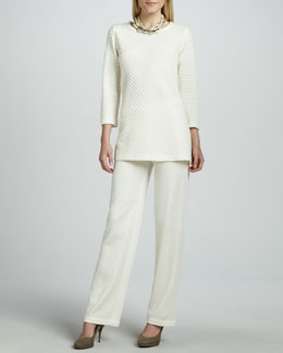Caroline Rose Ottoman Knit Tunic & Flat Wool-Knit Pants, Petite