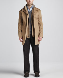Peter Millar Sebastian Storm System Car Coat, Merino V-Neck Sweater, Saville Tattersall Sport Shirt & Cotton Dress Pants