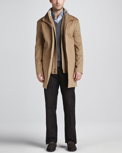 Peter Millar Sebastian Storm System Car Coat, Merino V-Neck Sweater, Saville Tattersall Sport Shirt & Cotton Dress Pants