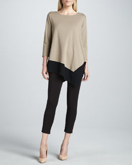Joan Vass Colorblock Asymmetric Tunic & Cropped Leggings