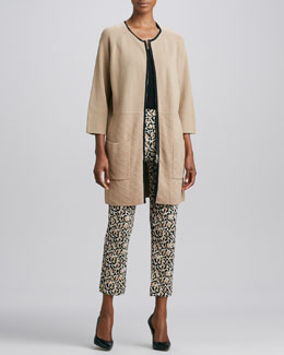 Joan Vass Knit Quilted-Panel Car Coat, Sleeveless Cotton Tank & Leopard-Print Ankle Pants, Women's