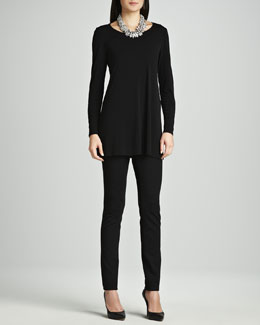 Eileen Fisher Silk Jersey Long-Sleeve Tunic & Stretch Ponte Skinny Jeans, Petite