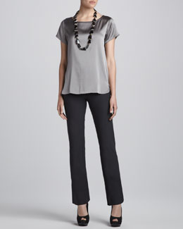 Eileen Fisher Charmeuse Boxy Boat-Neck Top & Washable Crepe Slim Boot-Cut Pants