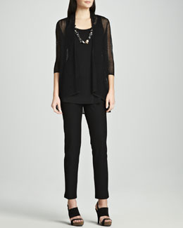 Eileen Fisher Sheer Mesh Cardigan, Silk Jersey Tunic Tank & Slim Stretch Crepe Ankle Pants