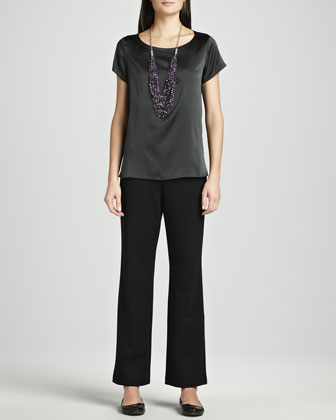 Silk Charmeuse Box Top & Ponte Straight-Leg Pants