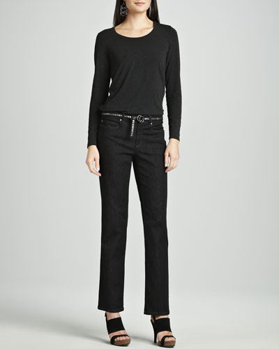 Eileen Fisher Cozy Long Lean Top, Organic Cotton Stretch Jeans & Italian Leather Skinny Belt