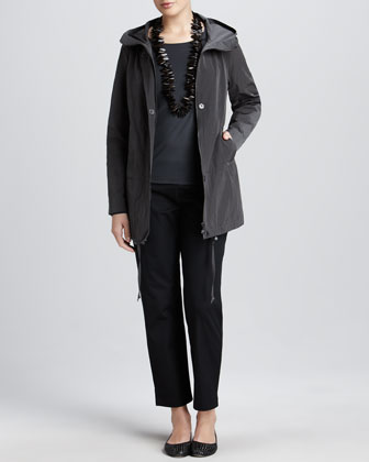 Weather-Resistant Jacket, Jewel-Neck Jersey Top & Twill Ankle Pants