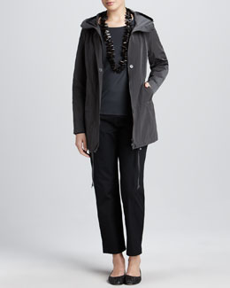 Eileen Fisher Weather-Resistant Jacket, Jewel-Neck Jersey Top & Twill Ankle Pants, Women's