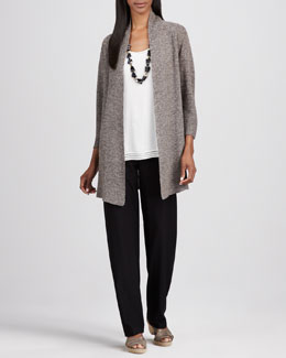 Eileen Fisher Long Linen-Mesh Cardigan, Perforated Silk Tank & Washable-Crepe Straight-Leg Pants