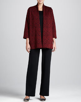 Caroline Rose Baroque Jacquard Jacket, Flat-Knit Longer Tank & Flat Wool-Knit Pants