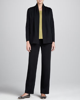 Caroline Rose Wool Flat-Knit Jacket, Long Tank & Pants
