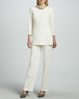 Caroline Rose Ottoman Knit Tunic & Flat Wool-Knit Pants, Women's