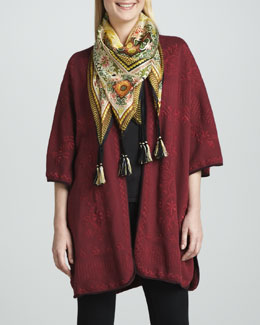 Johnny Was Collection Claudine Embroidered Poncho & Silk Dragon Scarf