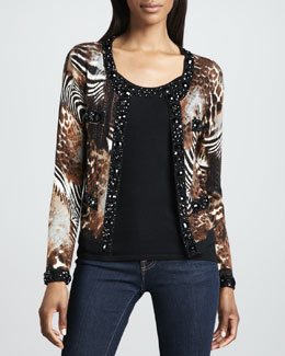 Michael Simon Animal-Print Beaded Cardigan & Bead-Topped Knit Tank, Petite