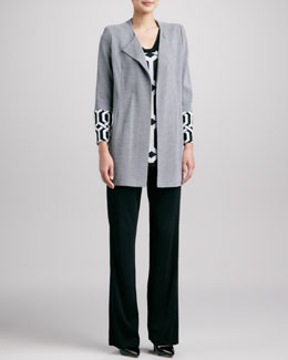Misook Elsa Coat, Trellis-Print V-Neck Tank & Boot-Cut Knit Pants