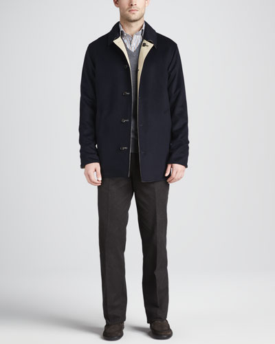 Peter Millar Matthew Reversible Coat, Merino V-Neck Vest, Newport Striped Sport Shirt & Cotton Dress Pants