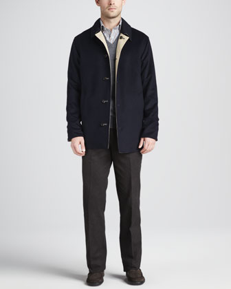 Matthew Reversible Coat, Merino V-Neck Vest, Newport Striped Sport Shirt & ...
