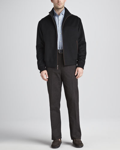 Peter Millar Patrick Wool Coat, Saville Tattersall Sport Shirt & Cotton Dress Pants