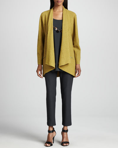 Eileen Fisher Lightweight Boiled Wool Jacket, Silk Jersey Long Tunic & Crepe Slim Ankle Pants