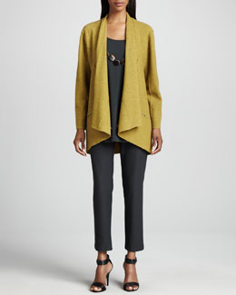 Eileen Fisher Lightweight Boiled Wool Jacket, Silk Jersey Long Tunic & Crepe Slim Ankle Pants, Petite