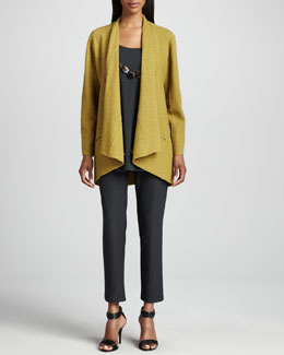 Eileen Fisher Lightweight Boiled Wool Jacket, Silk Jersey Long Tunic & Crepe Slim Ankle Pants, Women's