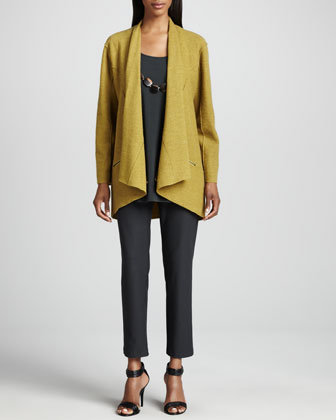 Lightweight Boiled Wool Jacket, Silk Jersey Long Tunic & Crepe Slim Ankle ...