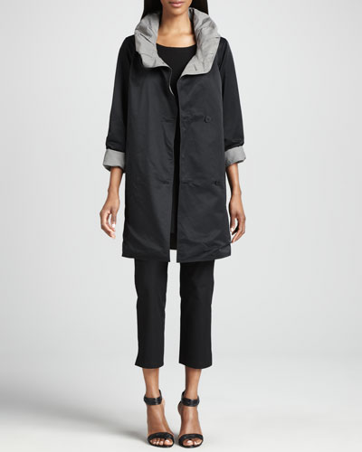 Eileen Fisher Reversible Hooded Rain Coat, Long-Sleeve Tunic & Slim Ankle Pants