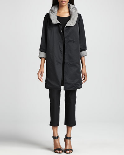Eileen Fisher Reversible Hooded Rain Coat, Long-Sleeve Tunic & Slim Ankle Pants, Petite