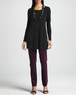 Eileen Fisher Silk Jersey Long-Sleeve Tunic & Slim Stretch Corduroy Jeans