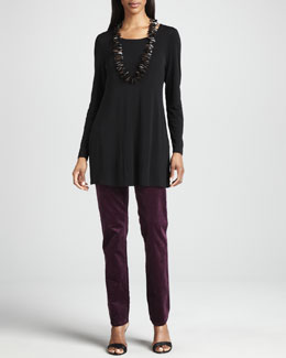 Eileen Fisher Silk Jersey Long-Sleeve Tunic & Slim Stretch Corduroy Jeans, Petite