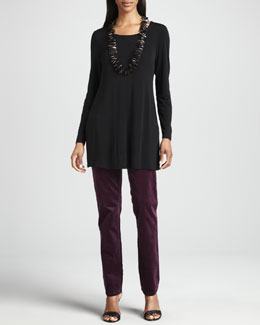 Eileen Fisher Silk Jersey Long-Sleeve Tunic & Slim Stretch Corduroy Jeans, Women's