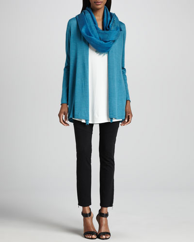 Eileen Fisher Merino Long Cardigan, Jersey Long Tunic, Cross-Dyed Scarf & Ponte Skinny Ankle Pants