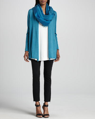 Eileen Fisher Merino Long Cardigan, Jersey Long Tunic, Cross-Dyed Scarf & Ponte Skinny Ankle Pants, Petite