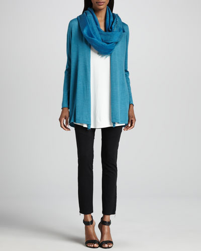 Eileen Fisher Merino Long Cardigan, Jersey Long Tunic, Cross-Dyed Scarf & Ponte Skinny Ankle Pants, Women's