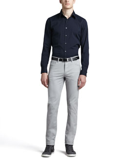Theory Sylvain Eclipse Woven Sport Shirt & Five-Pocket Twill Pants