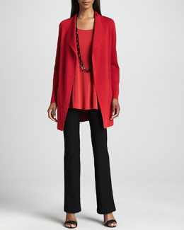 Eileen Fisher Silk-Cotton Interlock Long Jacket, Silk Jersey Long Tunic & Slim Boot-Cut Pants, Women's