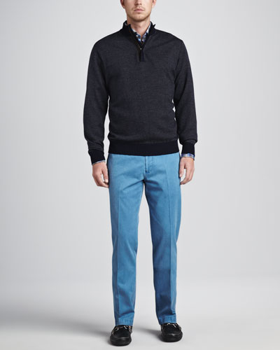 Peter Millar Birdseye Hidden-Zip Sweater, Multi-Check Sport Shirt & Washed Raleigh Pants