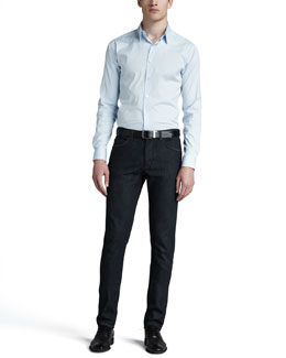 Theory Sylvain Sport Shirt & Dark Wash Denim Pants