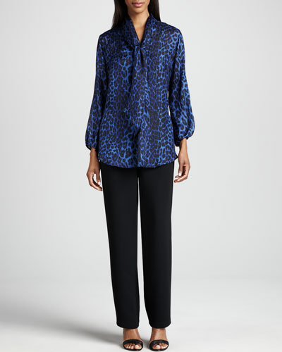 Caroline Rose Leopard Silk Blouse & Microfiber Straight-Leg Pants