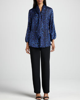 Caroline Rose Leopard Silk Blouse & Microfiber Straight-Leg Pants, Women's