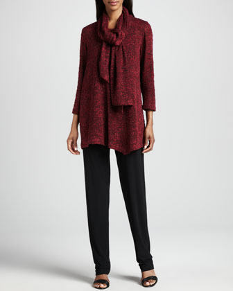 Asymmetric Cozy Knit Tunic, Scarf & Stretch-Knit Slim Pants