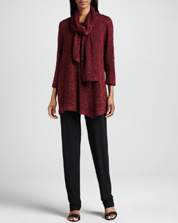 Caroline Rose Asymmetric Cozy Knit Tunic, Scarf & Stretch-Knit Slim Pants, Petite