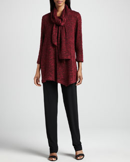 Caroline Rose Asymmetric Cozy Knit Tunic, Scarf & Stretch-Knit Slim Pants, Women's