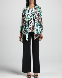 Caroline Rose Urban Animal-Print Draped Jacket, Tank & Wide-Leg Stretch Pants