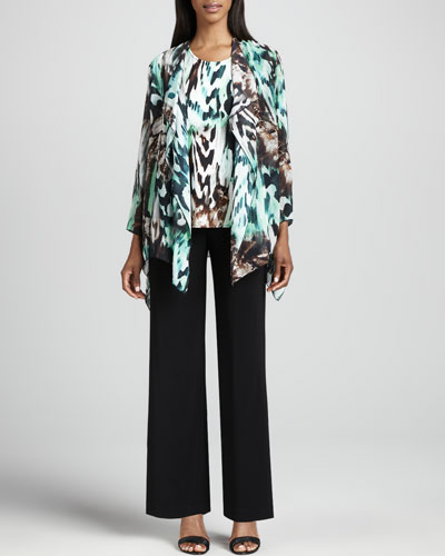 Caroline Rose Urban Animal-Print Draped Jacket, Tank & Wide-Leg Stretch Pants, Petite