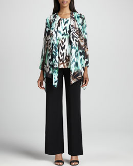 Caroline Rose Urban Animal-Print Draped Jacket, Tank & Wide-Leg Stretch Pants, Women's
