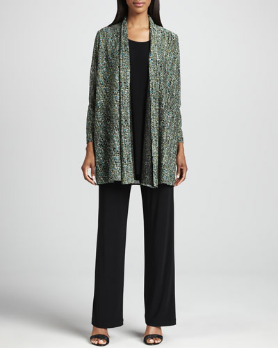 Caroline Rose Tweed Knit Cardigan, Long Knit Tunic/Tank & Stretch Knit Slim Pants