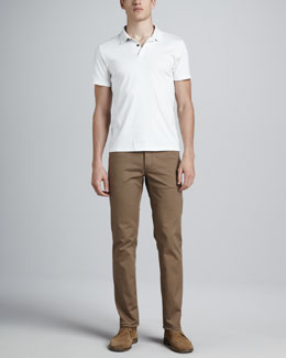 Theory Short-Sleeve Jersey Polo & Five-Pocket Twill Pants
