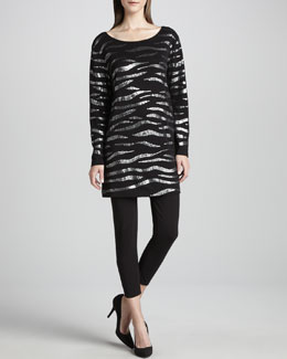 Joan Vass Animal Sequined Tunic & Cropped Leggings