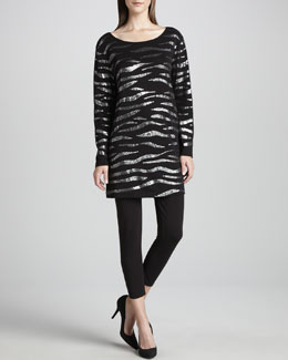 Joan Vass Animal Sequined Tunic & Cropped Leggings, Petite